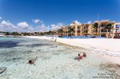 Travel photography:Playa del Carmen beach with hotels, Mexico