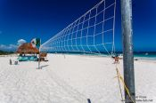 Travel photography:Volleyball net on Tulum beach, Mexico