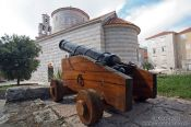 Travel photography:Cannon and church in Budva, Montenegro
