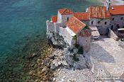 Travel photography:Houses inside the Budva fortress, Montenegro