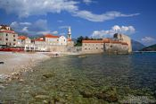 Travel photography:View of Budva town and beach, Montenegro