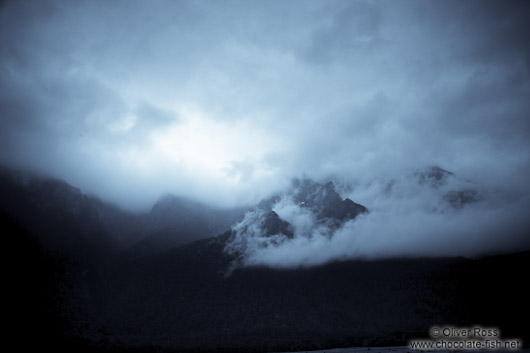 Clouds over Fiordland National Park