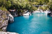 Travel photography:Jumper at the Hokitika Gorge, New Zealand