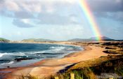 Travel photography:Rainbow over Henderson Bay, New Zealand
