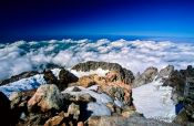Travel photography:Above the clouds on top of Mt Taranaki, New Zealand