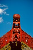 Travel photography:Facade detail on a Maori meeting house near Whanganui, New Zealand