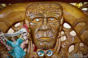 Travel photography:Carved altar in a church near Whanganui, New Zealand