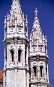 Travel photography:Towers of the Mosteiro dos Jeronimos in Lisbon, Portugal