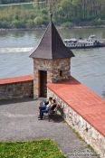 Travel photography:Spring at Bratislava castle with Danube river in the background, Slovakia