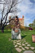 Travel photography:Statue of St. Elisabeth of Thuringia at Bratislava castle, Slovakia