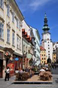 Travel photography:Bratislava city centre with St. Michael´s gate in the back, Slovakia