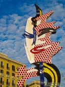 Travel photography:Barcelona Roy Lichtenstein sculpture, Spain