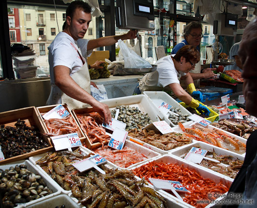 Sea food for sale at the Bilbao food market