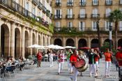 Travel photography:Musicians on plaza nueva in Bilbao, Spain