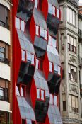 Travel photography:Modern glass facade in Bilbao, Spain