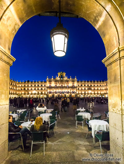 The Plaza Mayor in Salamanca by night
