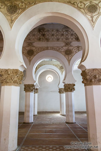 Arches inside the Santa Maria la Blanca synagogue in Toledo