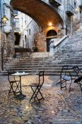 Travel photography:Square in Girona`s historical old town , Spain