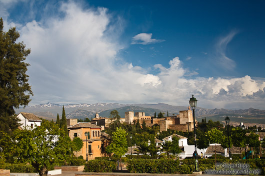 View of the Alhambra from the Albayzin district with the Sierra Nevada in the background
