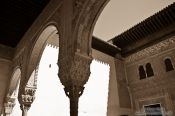 Travel photography:Arches in the Nazrin palace of the Granada Alhambra, Spain