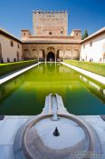 Travel photography:Patio de los Arrayanes (Court of the Myrtles), also called the Patio de la Alberca (Court of the Blessing or Court of the Pond) in the Nazrin palace of the Granada Alhambra, Spain