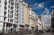 Travel photography:Houses along the Gran Via in Madrid, Spain