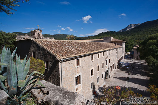 View of the Lluc monastery in the Serra de Tramuntana mountains