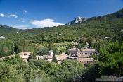 Travel photography:View of the Lluc monastery in the Serra de Tramuntana mountains, Spain
