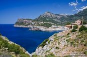 Travel photography:Port de Soller bay with mountains, Spain