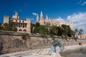 Travel photography:La Seu cathedral (right) with Almoina palace in Palma, Spain