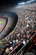Travel photography:The ranks in Camp Nou are filling with spectators before the start of the match, Spain