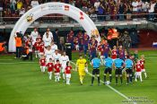 Travel photography:The teams appear before the start of the match, Spain