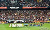 Travel photography:The team line-ups before the start of the match, Spain