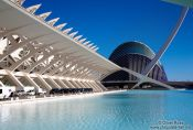 Travel photography:View of the Science Museum (Museo de las Ciencias) and Agora in the Ciudad de las artes y ciencias in Valencia, Spain