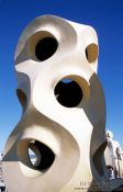 Travel photography:Sculpture on top of Casa Pedrera in Barcelona, Spain
