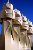 Travel photography:Sculptures on top of Casa Pedrera in Barcelona, Spain