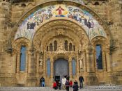 Travel photography:Entrance portal at Barcelona´s Sagrat Cor church atop the Tibidabo mountain, Spain