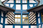 Travel photography:Facade detail of a half-timbered house in Sankt Gallen, Switzerland