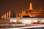 Travel photography:Traffic outside the Royal Palaca by night , Thailand