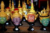 Travel photography:Models of traditional Thai masks., Thailand