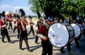 Travel photography:Brass band parading on Sanam Luang Square, Thailand