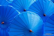 Travel photography:Blue parasols at the Bo Sang parasol factory, Thailand