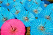 Travel photography:Parasols drying in the sun at the Bo Sang parasol factory, Thailand
