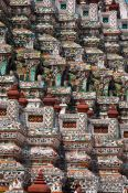 Travel photography:Detail of the giant stupas at Bangkok´s Wat Arun temple, Thailand