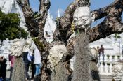 Travel photography:Sculptures at the Chiang Rai Silver Temple, Thailand