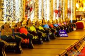 Travel photography:Seats for the monks inside Wat Chedi Luang Worawihan in Chiang Mai, Thailand
