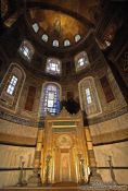 Travel photography:The main altar with the mihrab pointing to Mekka within the Ayasofya (Hagia Sofia), Turkey