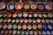 Travel photography:Ceramic bowls at a show in the Grand Basar in Istanbul, Turkey