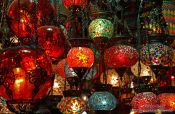 Travel photography:Colourful lights at a shop in the Egyptian (Spice) Basar in Istanbul, Turkey
