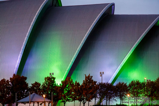 Glasgow Clyde Auditorium illuminated at night